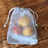 Úžitkový textil - vrecká na potraviny sieťka sivé sada 2 kusy - 10518329_