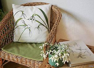 Úžitkový textil - Maľovaný poťah na vankúš snežienky - 10518573_