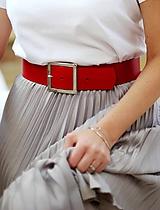 Opasky - Kožený opasok WIDE RED - 10516353_