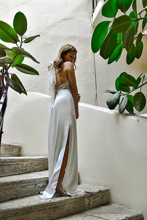 Šaty - Svadobné šaty z prírodného hodvábu - 10516463_