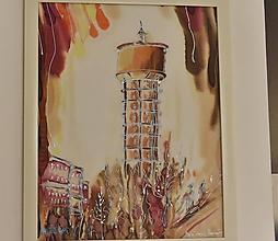 Obrazy - maľba na hodvábe VODÁRENSKÁ VEŽA Trnava - 10515794_