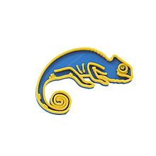 Odznaky/Brošne - Chameleón sky blue/yellow - 10515367_