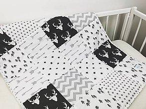 Úžitkový textil - Bielo - čierna deka pre bábätko - 10515776_