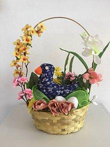 Dekorácie - Košík s kačičkou (Modrá) - 10518335_