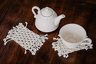 Úžitkový textil - macramé pod šálku - 10515609_