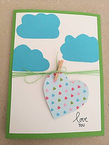 Papier - Pohľadnica - love you - obláčiky - 10517247_
