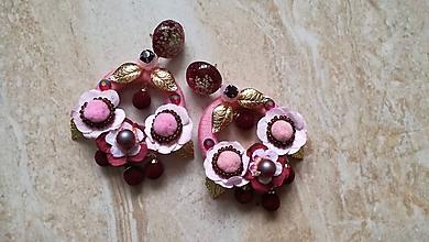 Náušnice - Staro ružové hoop nausnicky - 10517256_