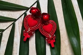 Náušnice - Red heart nausnice - 10517278_