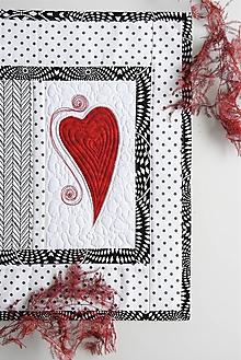 Úžitkový textil - Štóla - čierna & biela - srdce - 10518426_