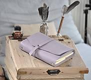 Papiernictvo - kombinovaný kožený zápisník  LILAC - 10518816_