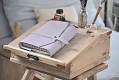 Papiernictvo - kombinovaný kožený zápisník  LILAC - 10518817_