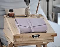 Papiernictvo - kombinovaný kožený zápisník  LILAC - 10518818_
