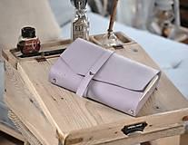 Papiernictvo - kombinovaný kožený zápisník  LILAC - 10518819_