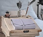 - kombinovaný kožený zápisník  LILAC - 10518820_