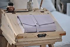 Papiernictvo - kombinovaný kožený zápisník  LILAC - 10518822_