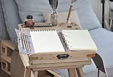 Papiernictvo - kombinovaný kožený zápisník  LILAC - 10518825_