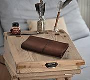 Papiernictvo - kožený zápisník s vymeniteľným obsahom NOIR - 10518842_