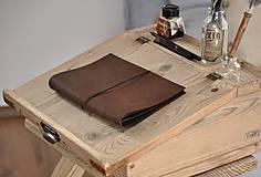 Papiernictvo - kožený zápisník s vymeniteľným obsahom NOIR - 10518850_