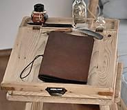Papiernictvo - kožený zápisník s vymeniteľným obsahom NOIR - 10518851_