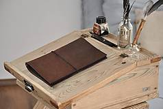 Papiernictvo - kožený zápisník s vymeniteľným obsahom NOIR - 10518854_