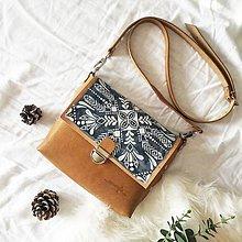 Kabelky - Eva Blue Folk (kožená kabelka - ručne maľovaná) - 10520948_