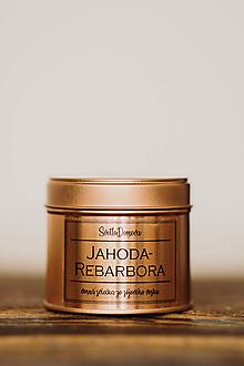 Svietidlá a sviečky - Sójová sviečka v plechovke - RoseGold - Jahoda&Rebarbora - 10520430_