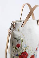 Kabelky - Ručne maľovaná crossbody ľanová kabelka