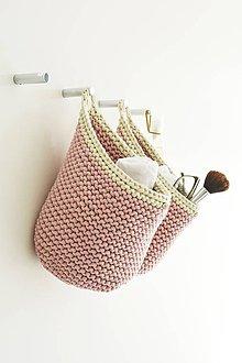 Košíky - Pletený košík s uškom - staroružový - 10519259_