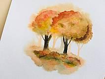 Obrazy - originál akvarel Stromy na jeseň - 10520977_