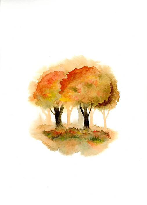 originál akvarel Stromy na jeseň
