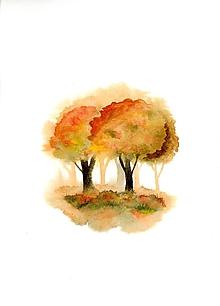 Obrazy - originál akvarel Stromy na jeseň - 10520969_
