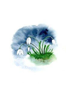 Obrazy - originál akvarel Snežienky - 10520989_