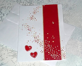 Papiernictvo - Pohľadnica...s červenými srdiečkami - 10519894_