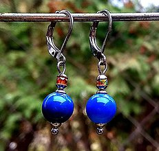 Náušnice - Visiace náušnice (CHO) s tmavo-modrým achátom - 10520597_