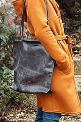 Veľké tašky - Velká kožená kabelka-černá - 10520890_