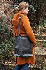 Veľké tašky - Velká kožená kabelka-černá - 10520893_