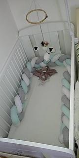Detské doplnky - Pastelový mintošedák, zapletaný mantinel, rôzne farby, dĺžka 50-500cm - 10520670_