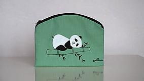 Taštičky - Plátená taštička ručne maľovaná- spokojná panda - 10519303_