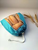 Úžitkový textil - Vrecko na drobné pečivo - MINI (Mini 22x24 cm - tyrkysové) - 10519378_