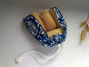 Úžitkový textil - Vrecúško na drobné pečivo - MINI (Mini 22x24 cm - modré) - 10519387_