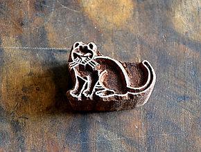 Pomôcky/Nástroje - Drevená pečiatka - kočka malá - 10520719_