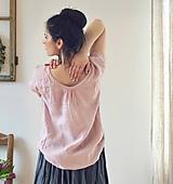 Topy - Lněný top růžový - 10520789_