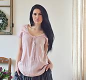Topy - Lněný top růžový - 10520791_