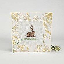 Papiernictvo - Zajačik - vyšívaná veľkonočná pohľadnica - 10520333_
