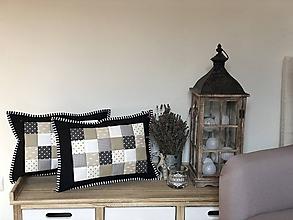 Úžitkový textil - Prehoz, vankúš patchwork vzor sivo-čierna ( rôzne varianty veľkostí ) - 10521998_