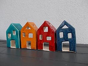 Svietidlá a sviečky - Keramický domček- svietnik (Oranžová) - 10522821_