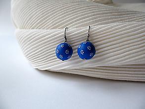 Náušnice - ,,Belle-kvietkované,,modré - 10524709_