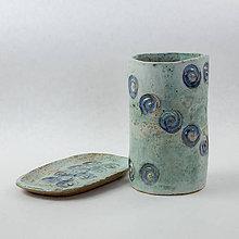 Nádoby - Sada mydelnička a pohár na kefky - výška 11,5 cm - 10524586_