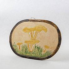 Dekorácie - Obrázok s motívom hríbov - kuriatka. 19 x 16,5 cm - 10524780_
