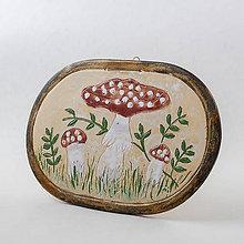 Dekorácie - Obrázok s motívom hríbov - muchotrávky. Rozmer 19x16,5 cm - 10524887_